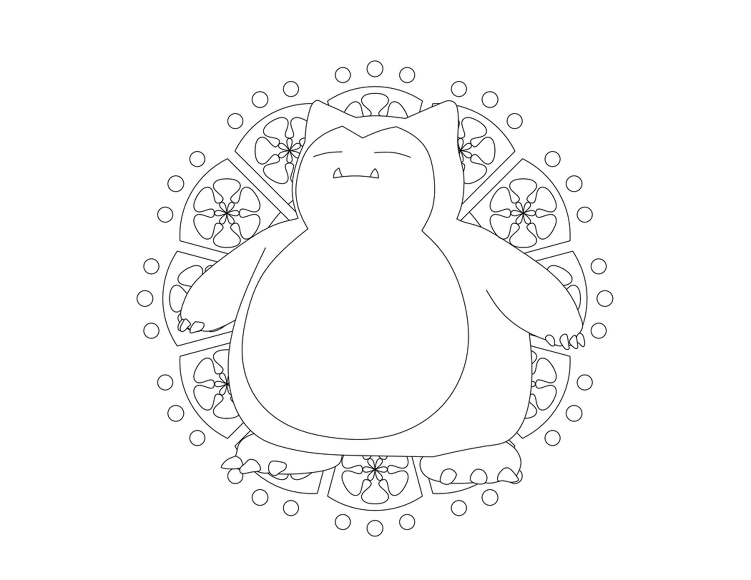 Pokemon snorlax kleurplaat