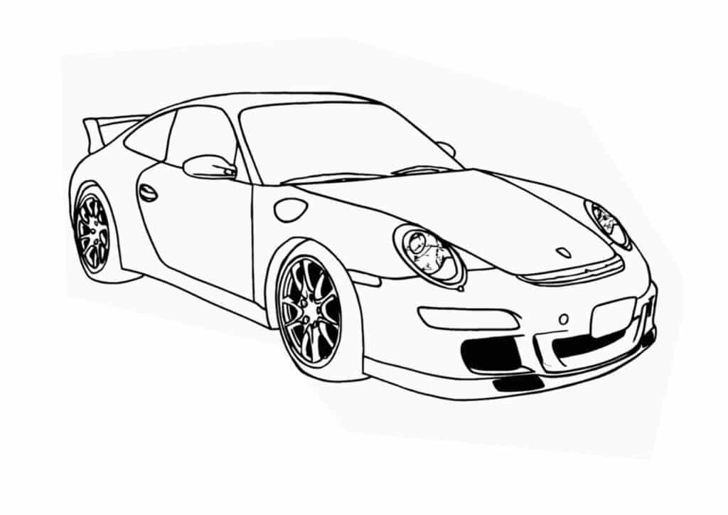 Porsche racing auto kleurplaat