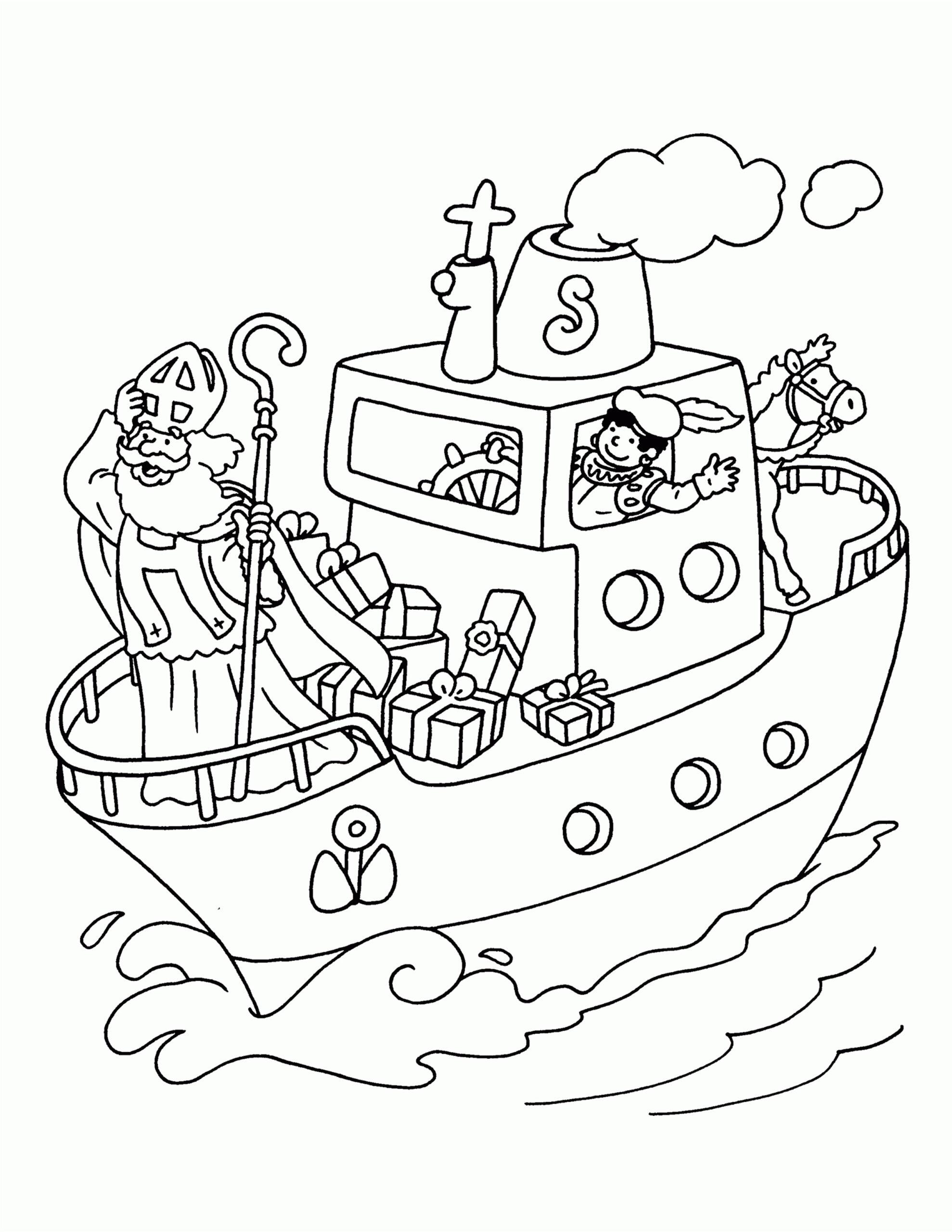 boot van sinterklaas kleurplaat
