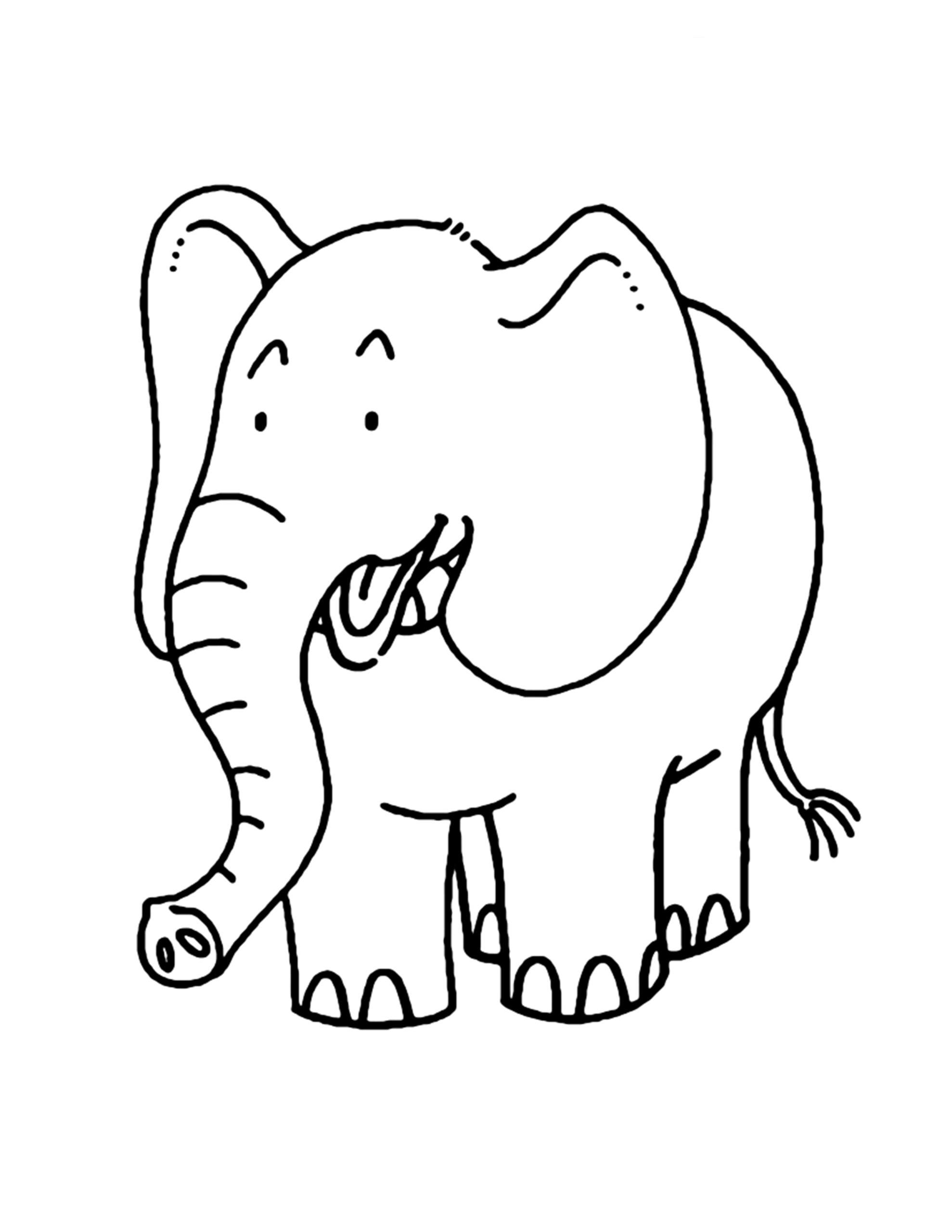 gratis kleurplaat van olifanten