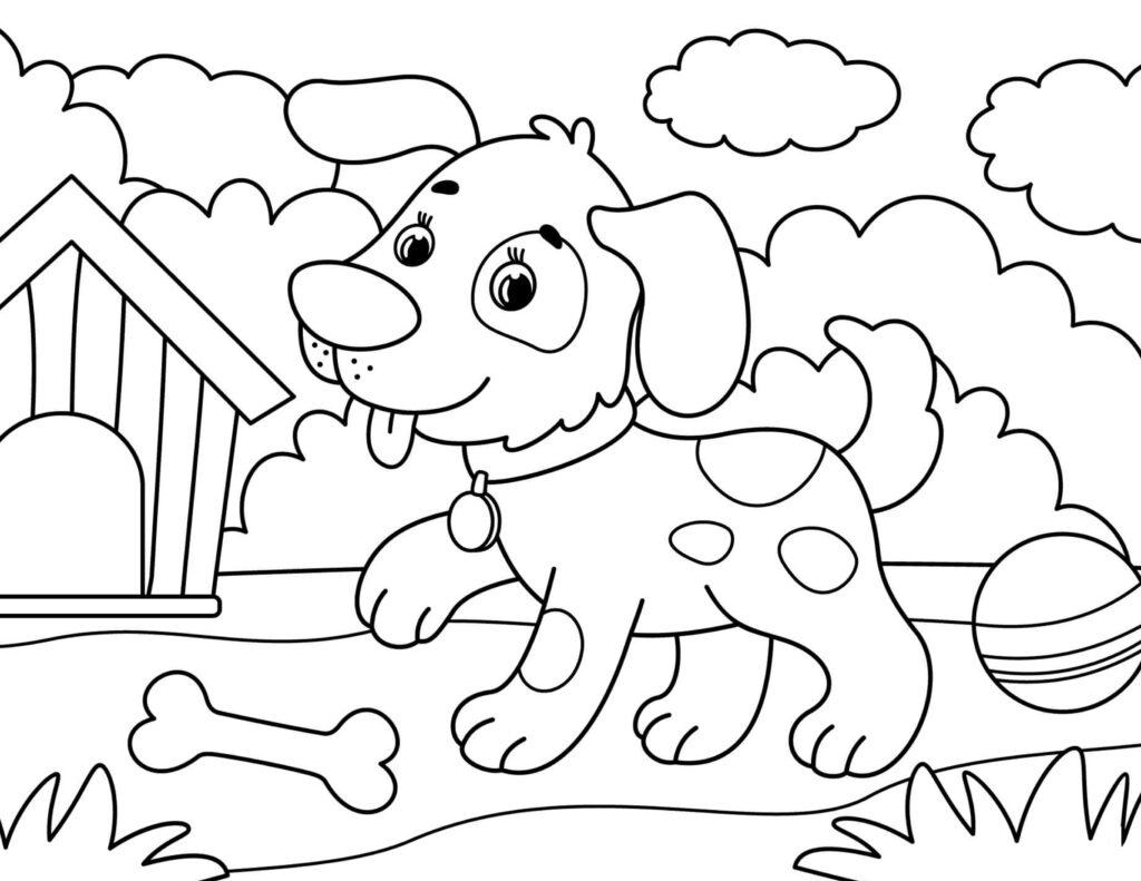 hond inkleuren kleurplaat kinderen