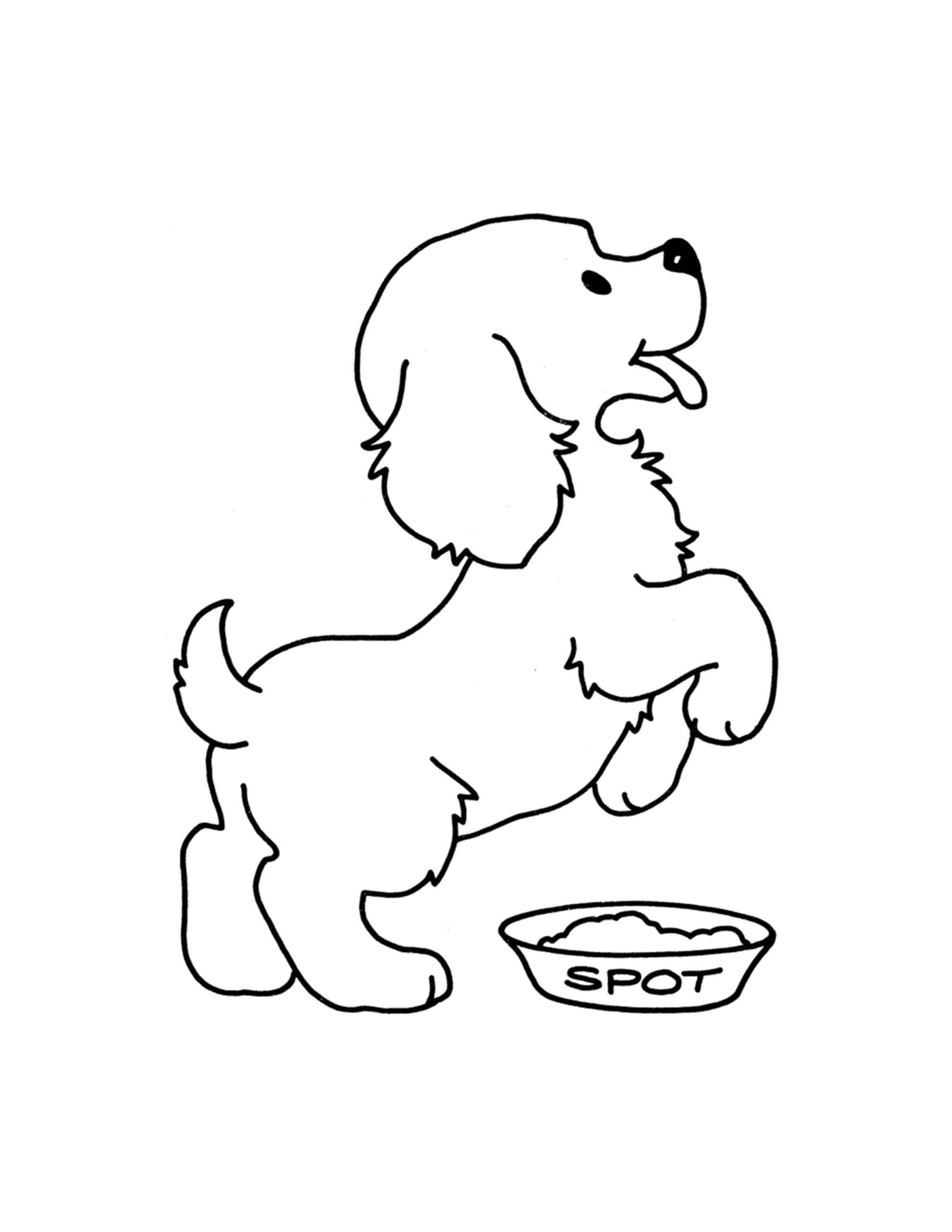 hondjes tekenen kinder kleurplaat