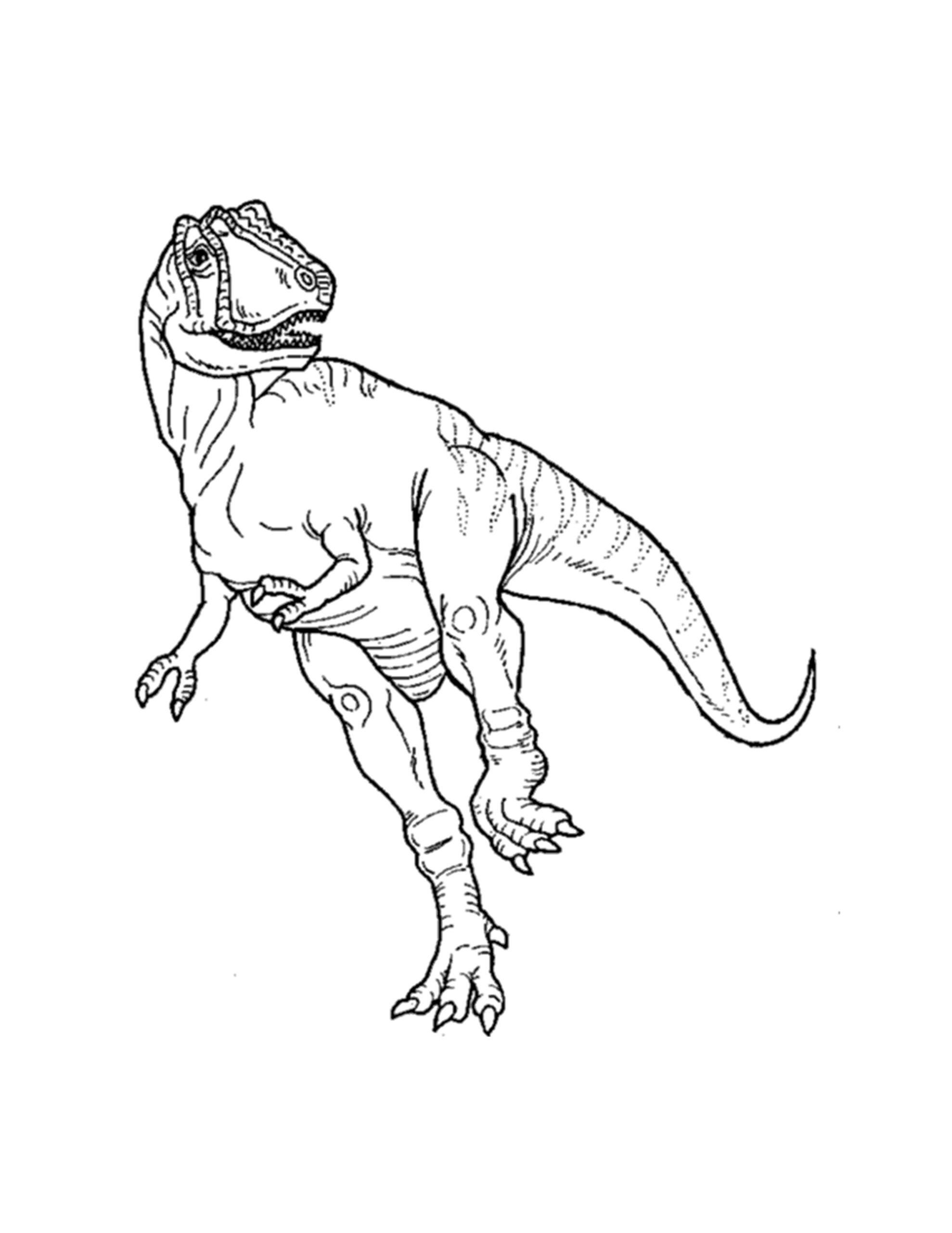 inkleuren T rex dinosaurus kleurplaat