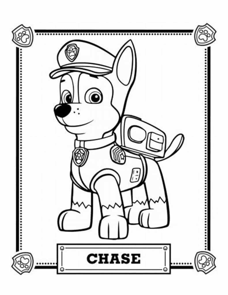 inkleuren chase paw patrol kleurplaat