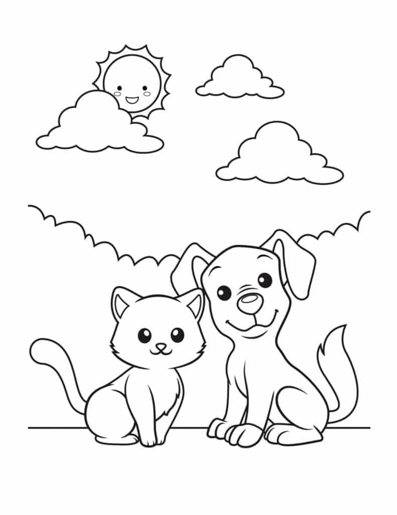 kat en hond kleurplaat tekenen