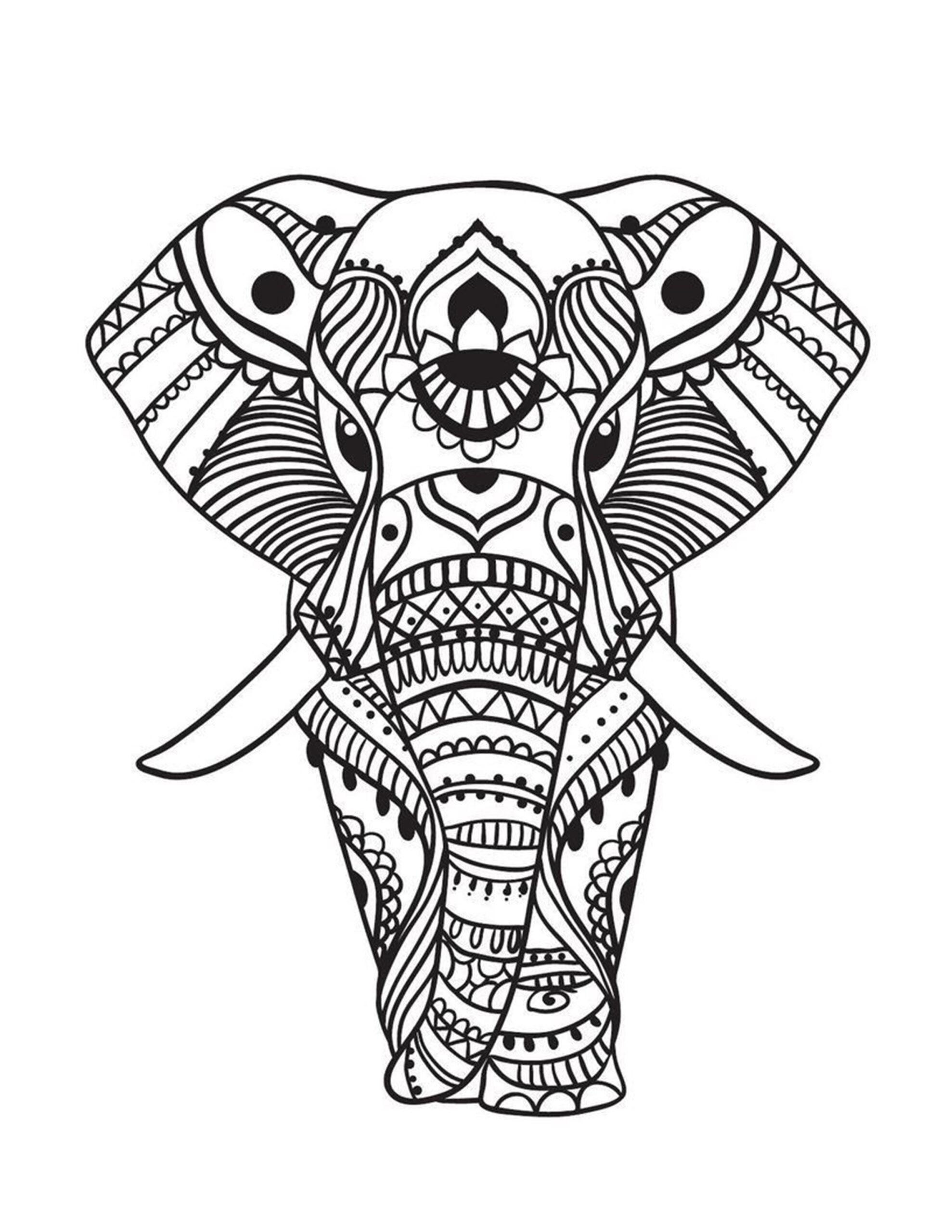 kleurplaat moeilijk olifant