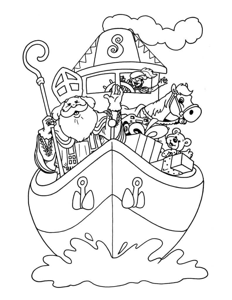 kleurplaat sinterklaas boot uit spanje