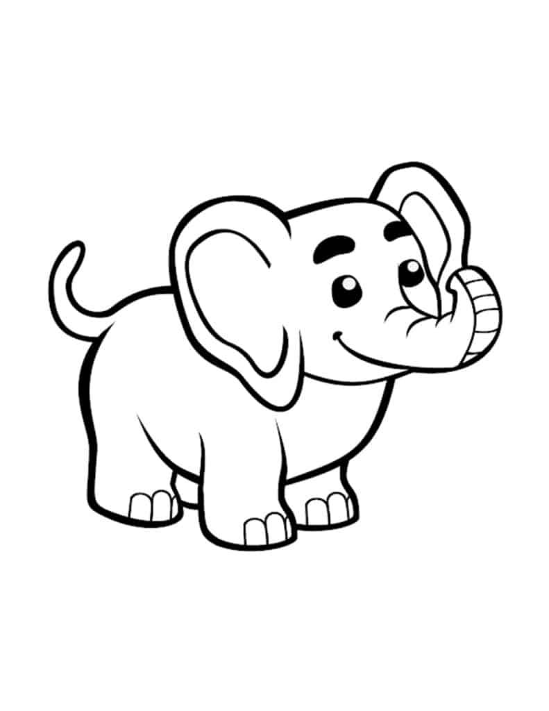 kleurplaat van kleine olifant