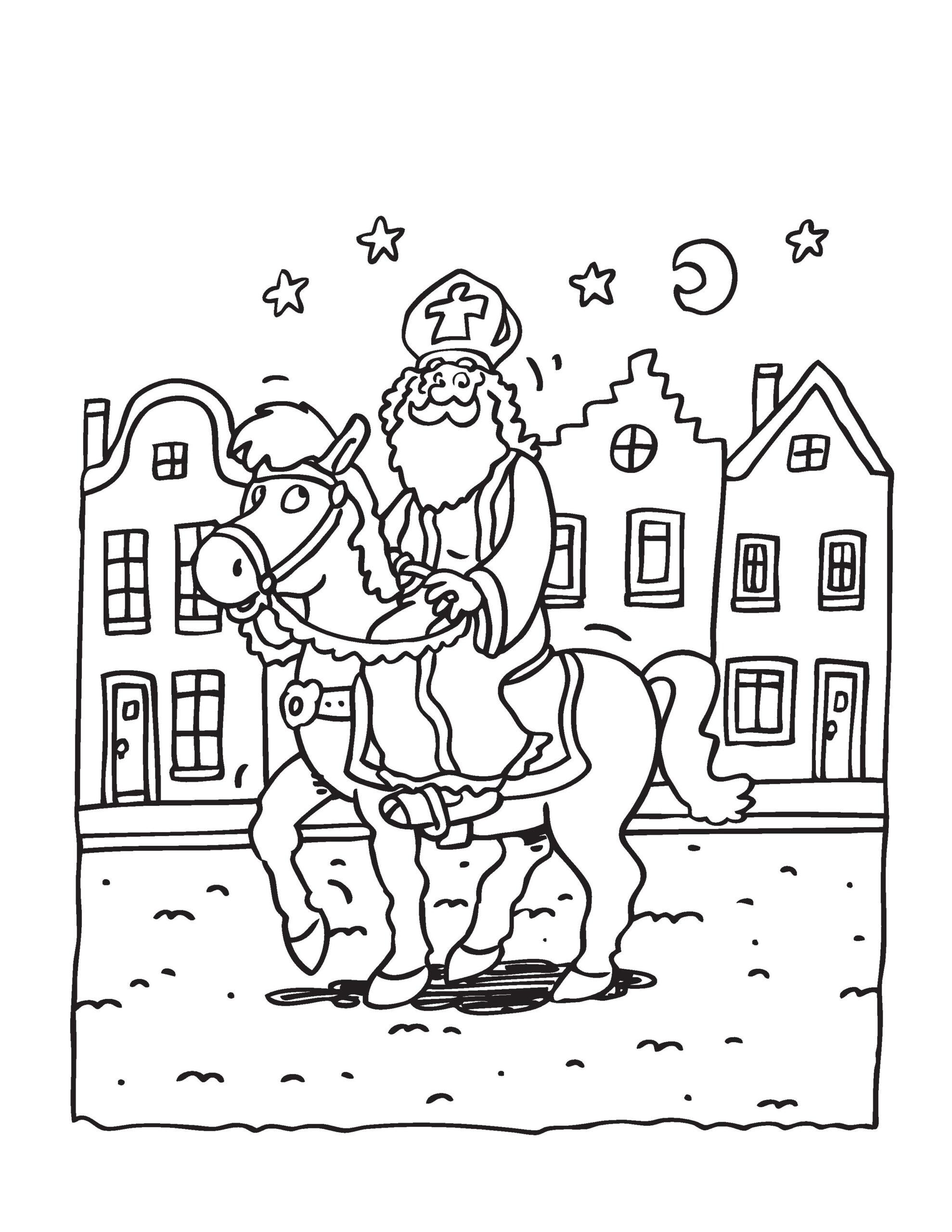 sinterklaas te paard kleurplaat