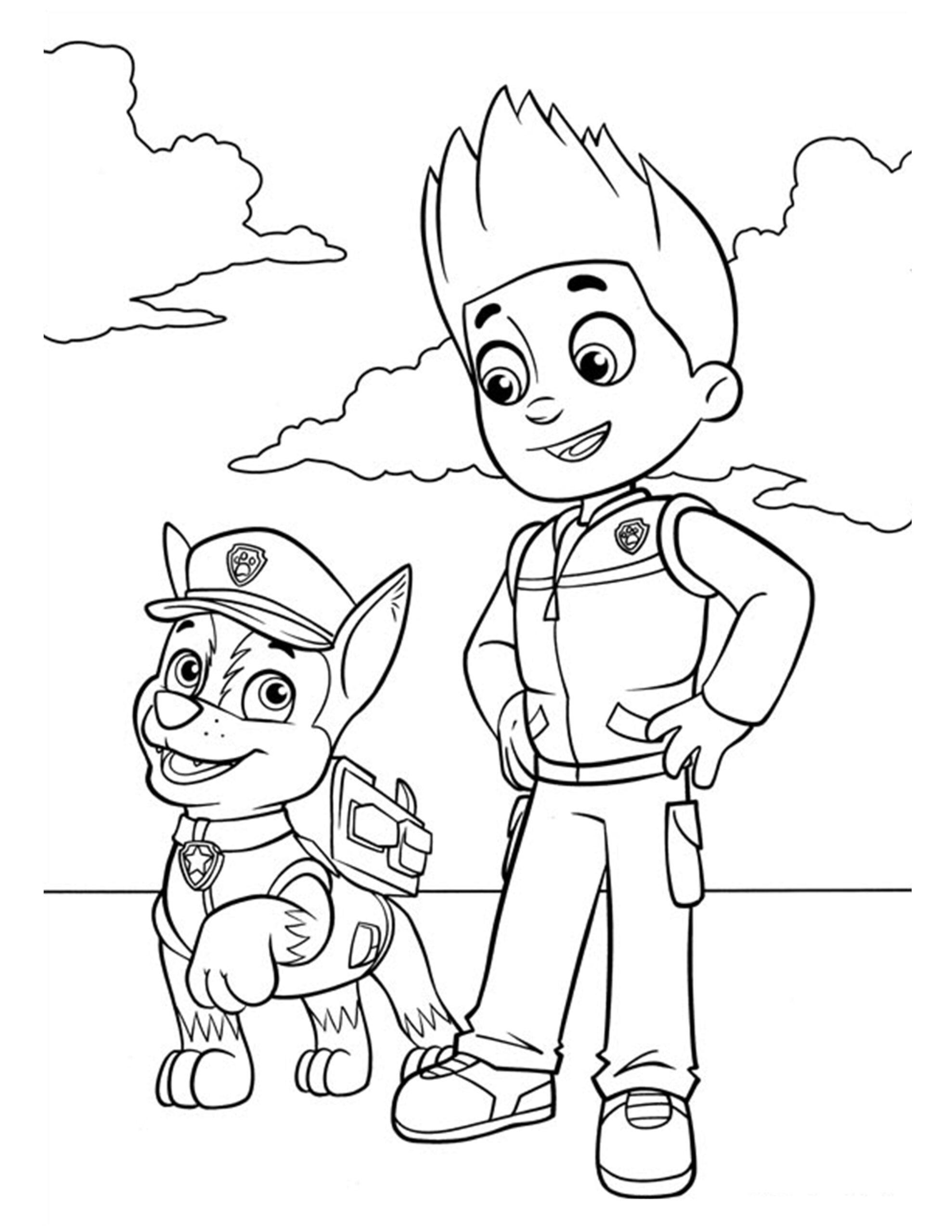 tekening inkleuren paw patrol